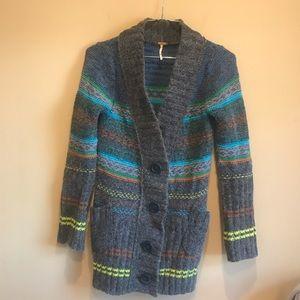 Free People Striped Wool Cardigan XS